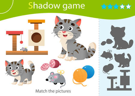 Shadow Game for kids. Match the right shadow. Color image of cartoon cat with kitten. Pets. Worksheet vector design for children and for preschoolers.