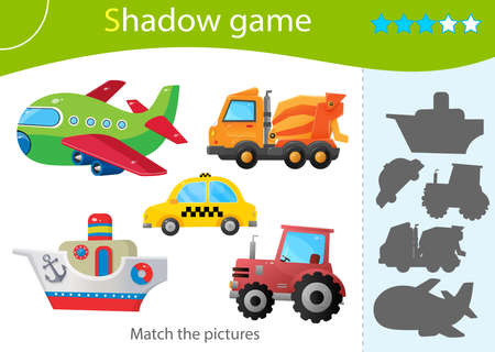 Shadow Game for kids. Match the right shadow. Color images of transportation or vehicle. Taxi, tractor, cars, concrete mixer, ship and plane. Worksheet vector design for children and for preschoolers. Ilustrace
