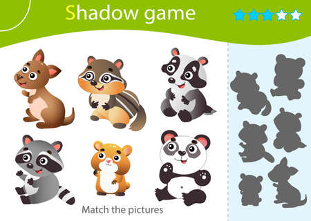 Shadow Game for kids. Match the right shadow. Color images of little animals. Panda, raccoon, badger, chipmunk, hamster, kangaroo. Worksheet vector design for children and for preschoolers.