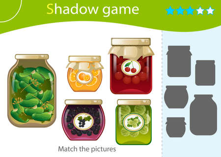 Shadow Game for kids. Match the right shadow. Jars of jams and pickles. Blackcurrant, cherry, gooseberry, orange, pickled cucumbers. Worksheet vector design for children and for preschoolers