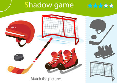 Shadow Game for kids. Match the right shadow. Color image of cartoon skates with helmet, stick and puck. Sports equipment. Hockey. Worksheet vector design for children and for preschoolers.