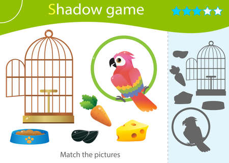 Shadow Game for kids. Match the right shadow. Color image of colorful parrot, bird cage and food. Pets. Worksheet vector design for children and for preschoolers. Иллюстрация
