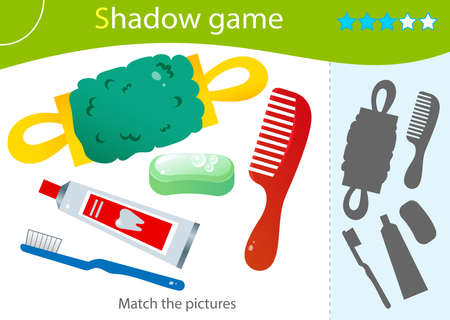 Shadow Game for kids. Match the right shadow. Color images of care and hygiene items. Toothpaste with brush, soap, washcloth, comb. Worksheet vector design for children and for preschoolers.