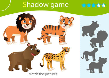 Shadow Game for kids. Match the right shadow. Color images of wild animals. Bear, Lion, Tiger, Cheetah. Worksheet vector design for children and for preschoolers.