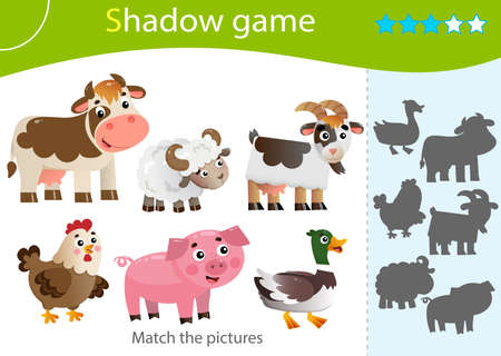 Shadow Game for kids. Match the right shadow. Color images of farm animals. Cow, sheep, duck or Drake, pig, chicken, goat. Worksheet vector design for children and for preschoolers.