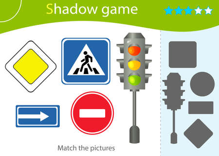 Shadow Game for kids. Match the right shadow. Color image of traffic signal and road signs. Worksheet vector design for children and for preschoolers. 矢量图像