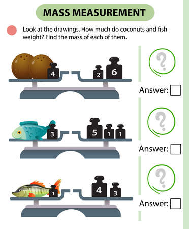 Math game, education game for children. Mass measurement. Scales. How much do coconuts and fish weight? Solve the examples. Logic puzzle for kids. Worksheet vector design for preschoolers and schoolers.