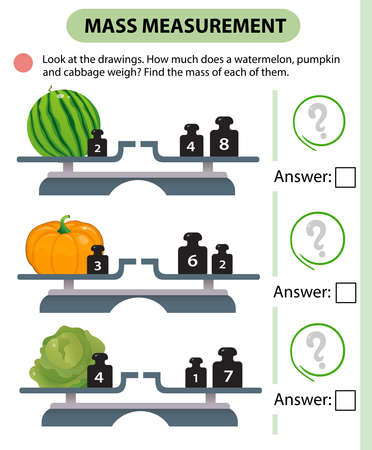 Math game, education game for children. Mass measurement. Scales. How much does a watermelon, pumpkin and cabbage weight? Logic puzzle for kids. Worksheet vector design for preschoolers and schoolers.