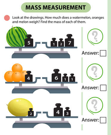 Math game, education game for children. Mass measurement. Scales. How much do watermelon, oranges and melon weight? Logic puzzle for kids. Worksheet vector design for preschoolers and schoolers.
