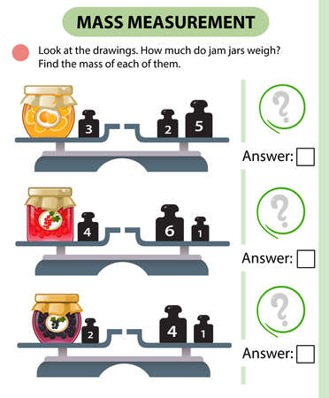 Math game, education game for children. Mass measurement. Scales. How much do jam jars weight? Logic puzzle for kids. Worksheet vector design for preschoolers and schoolers.