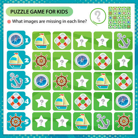 Sudoku puzzle. What images are missing in each line? Ship or steamship, magnetic compass, anchor, helm and lifebuoy. Logic puzzle for kids. Education game for children. Worksheet vector design for schoolers.