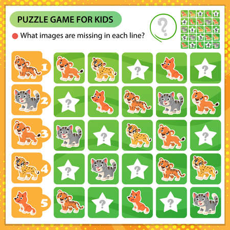 Sudoku puzzle. What images are missing in each line? Baby animals. Little cat, lion, tiger, cheetah, fox. Logic puzzle for kids. Education game for children. Worksheet vector design for schoolers 矢量图像