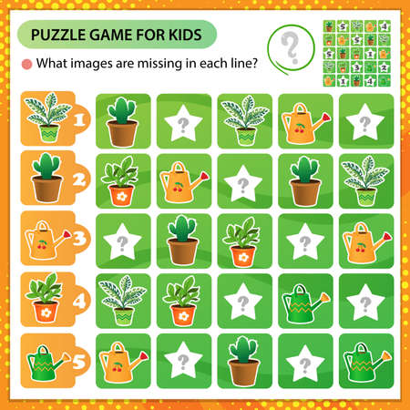 Sudoku puzzle. What images are missing in each line? Houseplants or indoor plants. Logic puzzle for kids. Education game for children. Worksheet vector design for schoolers. 向量圖像