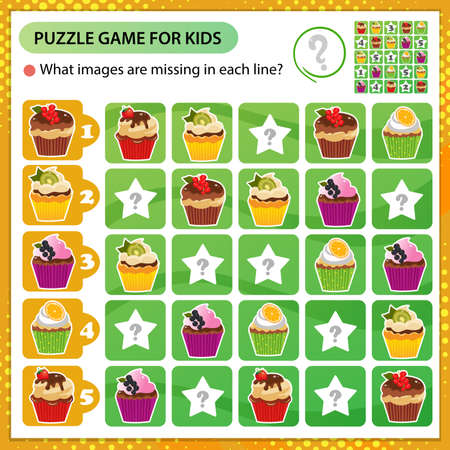 Sudoku puzzle. What images are missing in each line? Holiday cupcakes or muffins. Pastry and bakery. Logic puzzle for kids. Education game for children. Worksheet vector design for schoolers. 矢量图像