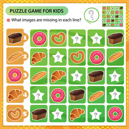 Sudoku puzzle. What images are missing in each line? Baked goods. Bread, wheat loaf, puff bun and bagel with poppy. Logic puzzle for kids. Education game for children. Worksheet vector design for schoolers.