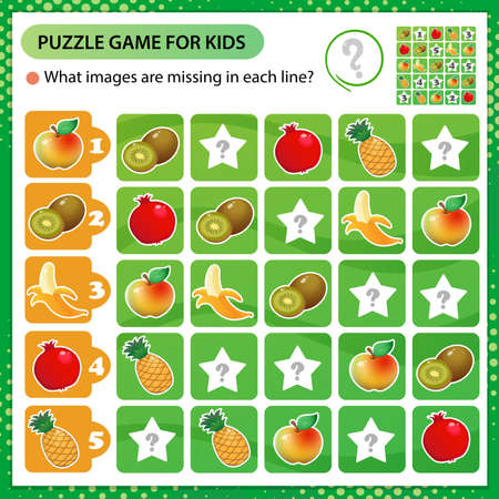 Sudoku puzzle. What images are missing in each line? Fruits. Banana, garnet, apple, pineapple, kiwi. Logic puzzle for kids. Education game for children. Worksheet vector design for schoolers.
