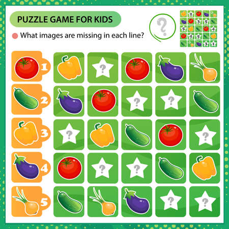 Sudoku puzzle. What images are missing in each line? Vegetables. Pepper, tomato, cucumber, onion, eggplant. Logic puzzle for kids. Education game for children. Worksheet vector design for schoolers. 向量圖像