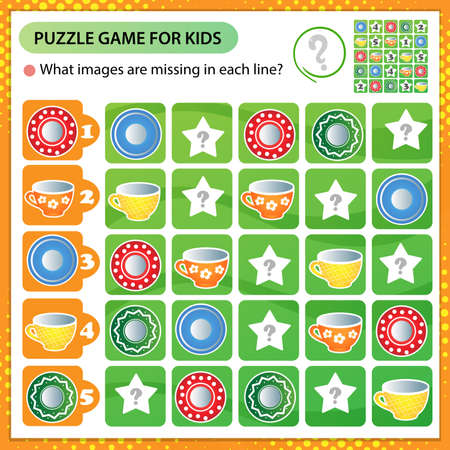 Sudoku puzzle. What images are missing in each line? Kitchen tea set. Colorful saucers and cups. Logic puzzle for kids. Education game for children. Worksheet vector design for schoolers.