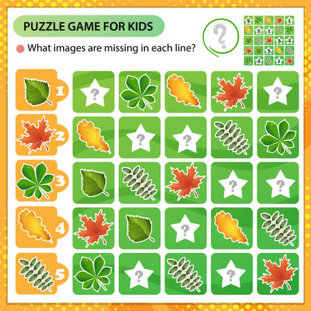 Sudoku puzzle. What images are missing in each line? Leaves of trees. Leaf of oak, birch, maple, chestnut and rowan. Logic puzzle for kids. Education game for children. Worksheet vector design for schoolers.