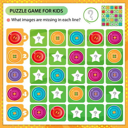Sudoku puzzle. What images are missing in each line? Color images of buttons. Logic puzzle for kids. Education game for children. Worksheet vector design for schoolers.