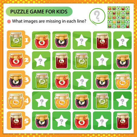 Sudoku puzzle. What images are missing in each line? Jars of jams. Logic puzzle for kids. Education game for children. Worksheet vector design for schoolers. 矢量图像