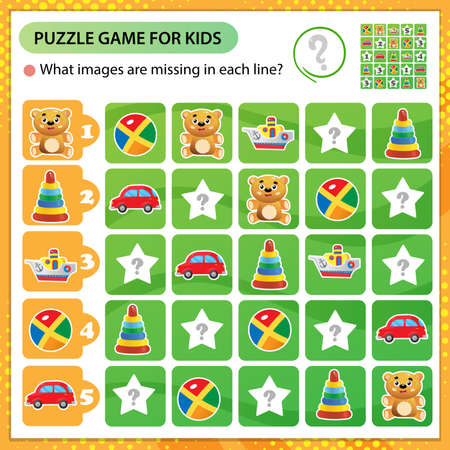 Sudoku puzzle. What images are missing in each line? Toys. Toy car, boat, Teddy bear, ball, pyramid. Logic puzzle for kids. Education game for children. Worksheet vector design for schoolers.