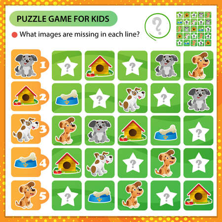 Sudoku puzzle. What images are missing in each line? Dogs. Logic puzzle for kids. Education game for children. Worksheet vector design for schoolers