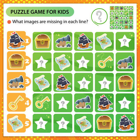 Sudoku puzzle. What images are missing in each line? Pirates ship, cannon, black flag with skull, treasure map and chest with gold. Logic puzzle for kids. Game for children. Worksheet vector design for schoolers