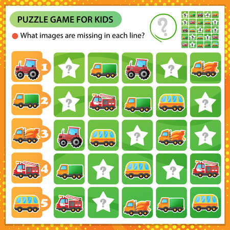 Sudoku puzzle. What images are missing in each line? Cars. Truck and tractor. Fire truck and concrete mixer. Bus. Transport or vehicle. Logic puzzle for kids. Game for children. Worksheet vector design for schoolers 矢量图像