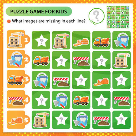 Sudoku puzzle. What images are missing in each line? Build of house with elevating crane, concrete mixer and construction tools. Logic puzzle for kids. Education game for children. Worksheet vector design for schoolers