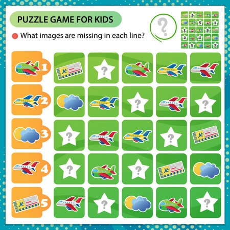 Sudoku puzzle. What images are missing in each line? Airplanes. Transport and vehicle. Logic puzzle for kids. Education game for children. Worksheet vector design for schoolers