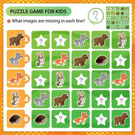 Sudoku puzzle. What images are missing in each line? Wild animals. Bear, Wolf, Hedgehog, Hare, Fox. Logic puzzle for kids. Education game for children. Worksheet vector design for schoolers 矢量图像
