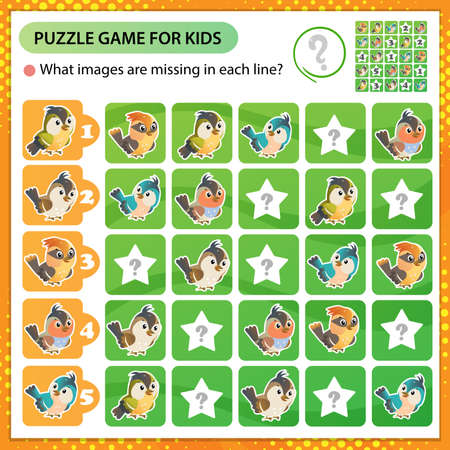 Sudoku puzzle. What images are missing in each line? Birds. Logic puzzle for kids. Education game for children. Worksheet vector design for schoolers.