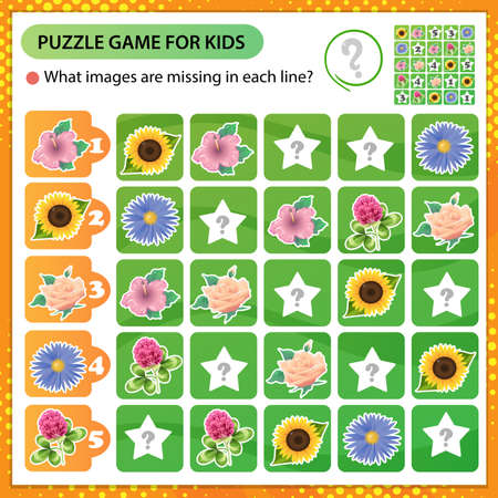 Sudoku puzzle. What images are missing in each line? Flowers. Rose, sunflower, mallow, aster, clover. Logic puzzle for kids. Education game for children. Worksheet vector design for schoolers. 矢量图像