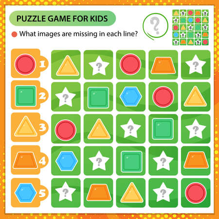 Sudoku puzzle. What images are missing in each line? Geometric shapes. Logic puzzle for kids. Education game for children. Worksheet vector design for schoolers.