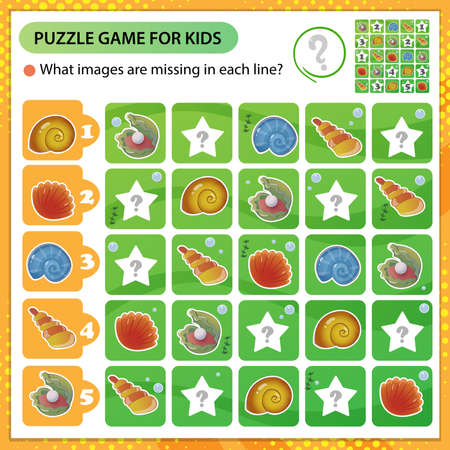 Sudoku puzzle. What images are missing in each line? Seashells and shells. Logic puzzle for kids. Education game for children. Worksheet vector design for schoolers.