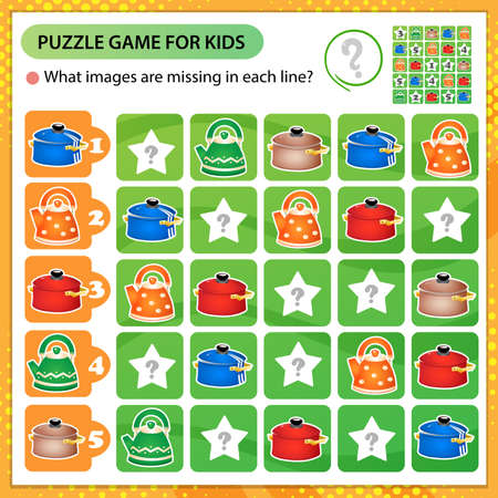 Sudoku puzzle. What images are missing in each line? Pans and kettles. Logic puzzle for kids. Education game for children. Worksheet vector design for schoolers.