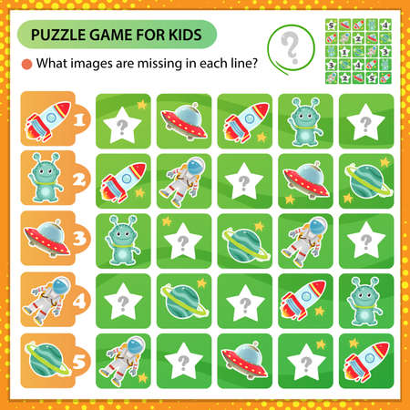 Sudoku puzzle. What images are missing in each line? Space. Logic puzzle for kids. Education game for children. Worksheet vector design for schoolers.