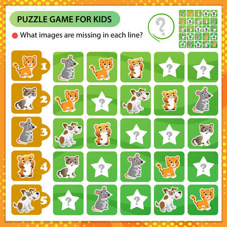 Sudoku puzzle. What images are missing in each line? Animals. Cats, mouse, hamster, dog. Logic puzzle for kids. Education game for children. Worksheet vector design for schoolers