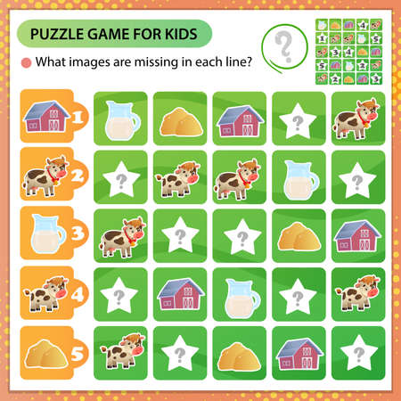 Sudoku puzzle. What images are missing in each line? Farm animals. Cow. Logic puzzle for kids. Education game for children. Worksheet vector design for schoolers