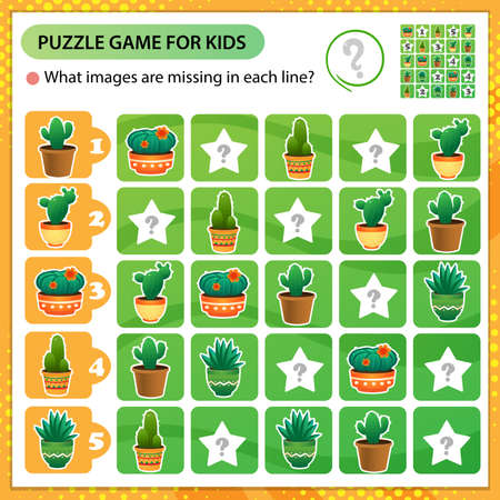 Sudoku puzzle. What images are missing in each line? Cactus. Houseplants or indoor plants. Logic puzzle for kids. Education game for children. Worksheet vector design for schoolers.