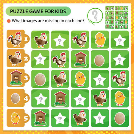 Sudoku puzzle. What images are missing in each line? Farm animals. Poultry. Hen, rooster and chicken. Logic puzzle for kids. Education game for children. Worksheet vector design for schoolers