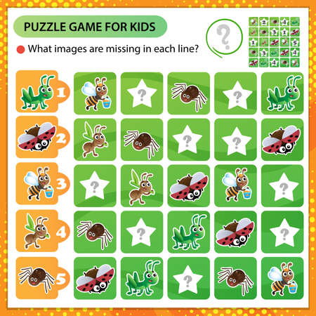 Sudoku puzzle. What images are missing in each line? Insects. Worker ant, grasshopper, spider, ladybug and bee. Logic puzzle for kids. Education game for children. Worksheet vector design for schoolers