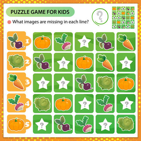 Sudoku puzzle. What images are missing in each line? Vegetables. Cabbage, carrot, beet, radish, pumpkin. Logic puzzle for kids. Education game for children. Worksheet vector design for schoolers.