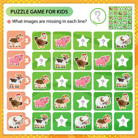 Sudoku puzzle. What images are missing in each line? Farm animals. Cow, sheep, pig, chicken, goat. Logic puzzle for kids. Education game for children. Worksheet vector design for schoolers Ilustración de vector