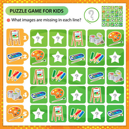 Sudoku puzzle. What images are missing in each line? Easel with drawing, watercolor paint and brush, pencils. Logic puzzle for kids. Education game for children. Worksheet vector design for schoolers 矢量图像