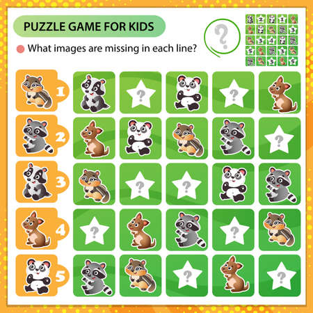Sudoku puzzle. What images are missing in each line? Little animals. Panda, raccoon, badger, chipmunk, kangaroo. Logic puzzle for kids. Game for children. Worksheet vector design for schoolers