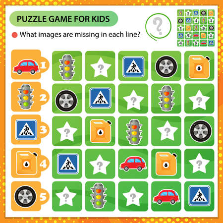 Sudoku puzzle. What images are missing in each line? Car wheel and pump, canister with petrol, vehicle and traffic signal. Logic puzzle for kids. Education game for children. Worksheet vector design for schoolers.