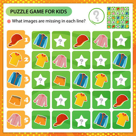 Sudoku puzzle. What images are missing in each line? Male clothing. Tee shirt, shorts, shirt, sneakers and baseball cap. Logic puzzle for kids. Education game for children. Worksheet vector design for schoolers 向量圖像