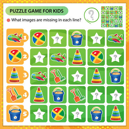 Sudoku puzzle. What images are missing in each line? Toys. Toy shovel with bucket, ball, pyramid, plane. Logic puzzle for kids. Education game for children. Worksheet vector design for schoolers.